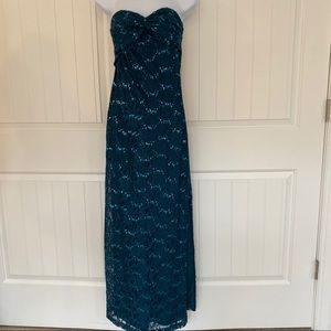 Morgan & Co teal sequins strapless dress size 5/6